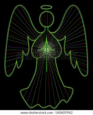 Angel vector line drawing in green, with colored light rays, and cross of white light. - stock vector