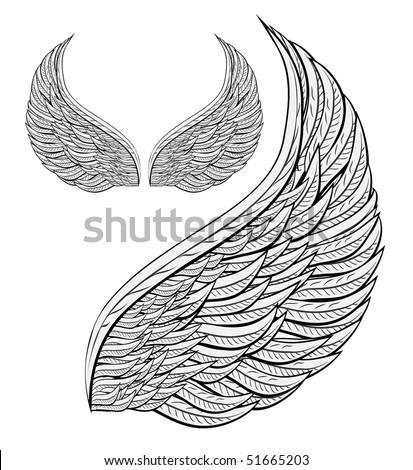 angel wing - stock vector
