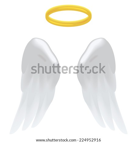 Angel wings and a halo isolated on white. - stock vector