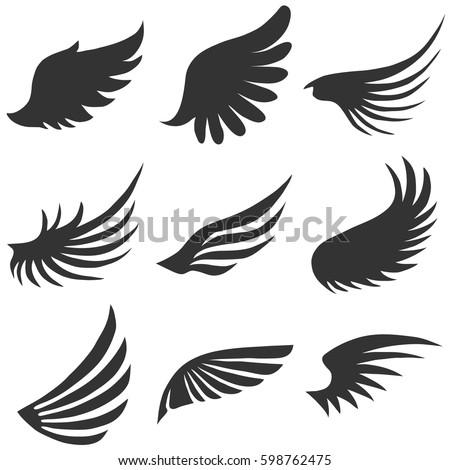 Angel Wings Flat Design Vector Illustration Stock Vector 598762475
