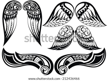 Angel wings.Good set of different tattoo wings - stock vector