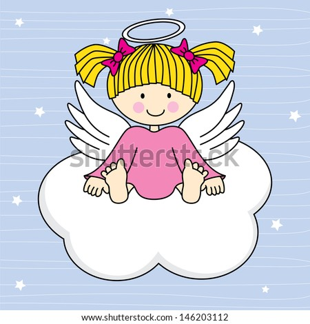 Angel wings on a cloud. Greeting card