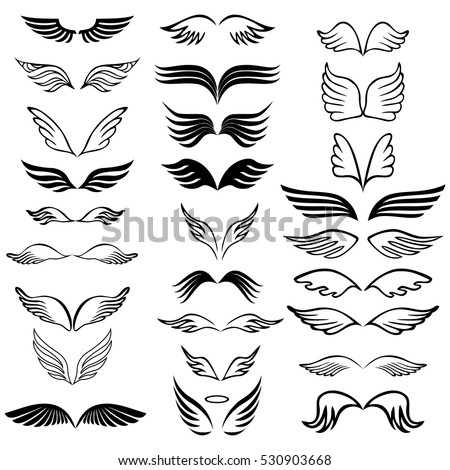 Angel wings set hand drawn sketch stock vector 2018 530903668 shutterstock
