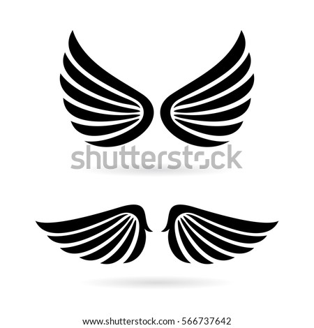 Angel Wings Vector Icon Set On Stock Vector 566737642 Shutterstock