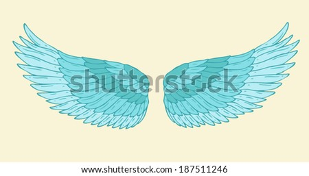 angel wings vector illustration, hand drawn - stock vector