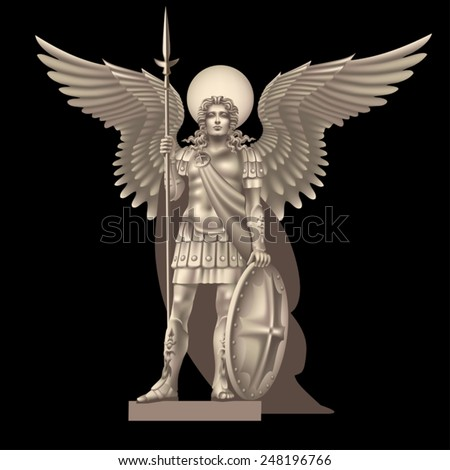 Angel with a spear on a black background - stock vector