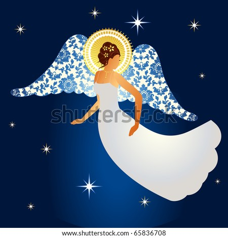 Angel with damask pattern on  wings - stock vector