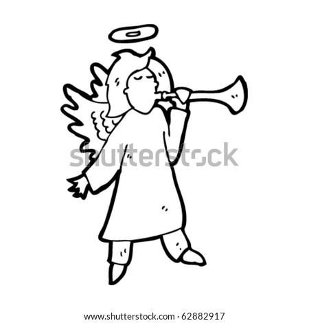 angel with trumpet cartoon - stock vector