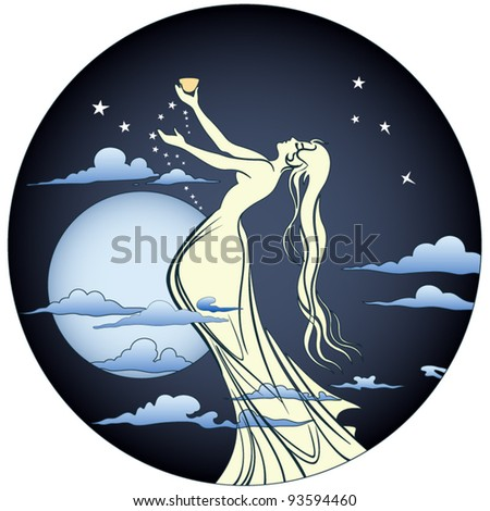 angel with wine cup - stock vector