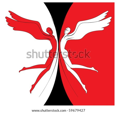 Angels of good and evil - stock vector