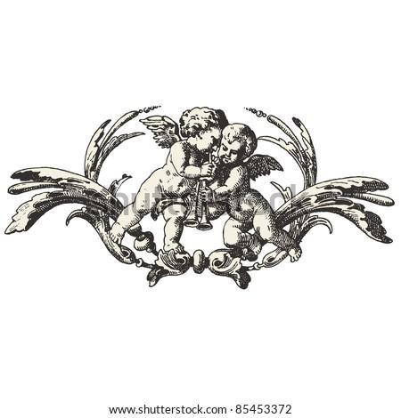 Angels - Vintage music sheet  - 1890 - stock vector