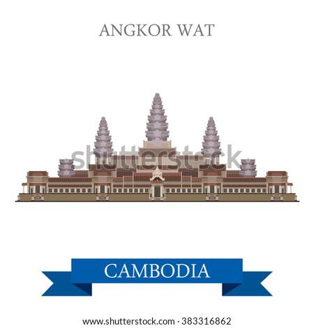 Angkor Wat temple complex in Cambodia. Flat cartoon style historic sight showplace attraction web site vector illustration. World countries cities vacation travel sightseeing Asia collection. - stock vector