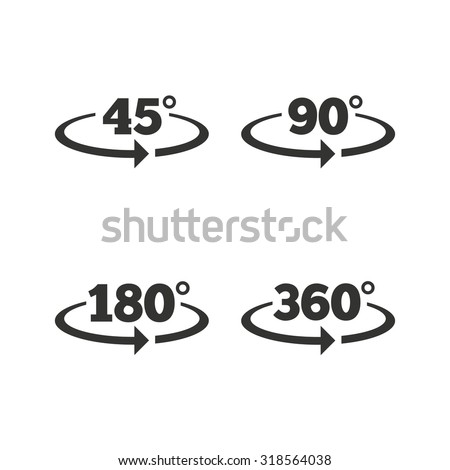 Angle 45360 Degrees Icons Geometry Math Stock Vector 318564038