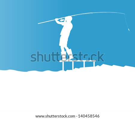 Angler vector blue background concept landscape - stock vector