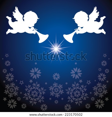 Angles with Christmas elements. Snowflakes background. - stock vector