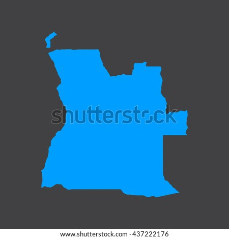 Angola blue map,border on black background. Vector illustration.