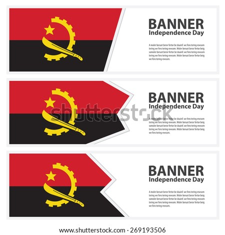Angola Flag banners collection independence day template backgrounds, infographic - stock vector