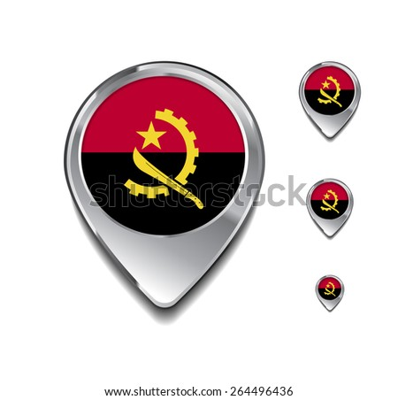 Angola flag map pointer. 3d Map Pointer with flag glossy button style on gray background - stock vector