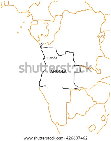 Angola hand-drawn sketch map - stock vector
