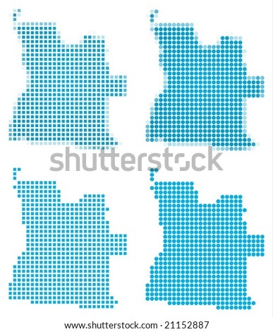 Angola map mosaic set. Isolated on white background. - stock vector