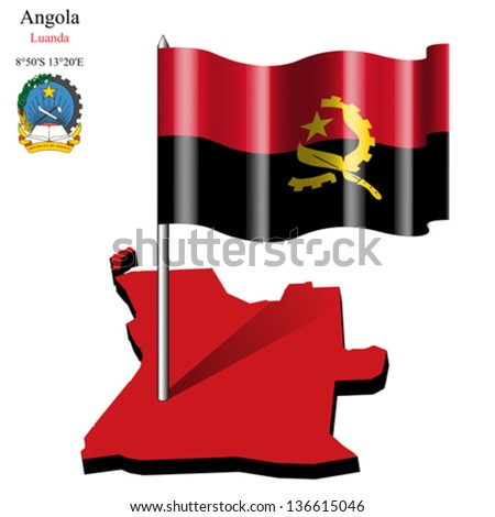 angola wavy flag over map against white background, abstract vector art illustration, image contains transparency - stock vector