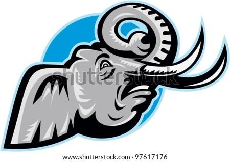 Angry African Elephant Head Retro - stock vector