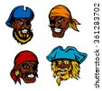 Angry and dangerous dark skinned cartoon marine pirates, captains and sailors with lush beards, moustaches, eye patches, bandanas and hats. Childish book, marine adventure and travel design usage  - stock vector