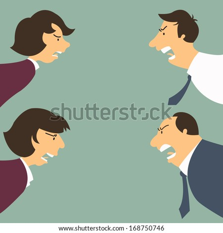 Angry and frustrated business man and woman, both junior and senior person. Feeling and emotion concept.  - stock vector