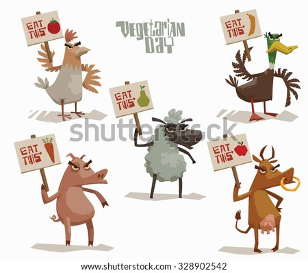 Angry Animals holding poster in support of vegetarianism set, pig, cow, chicken, sheep, duck, vector - stock vector