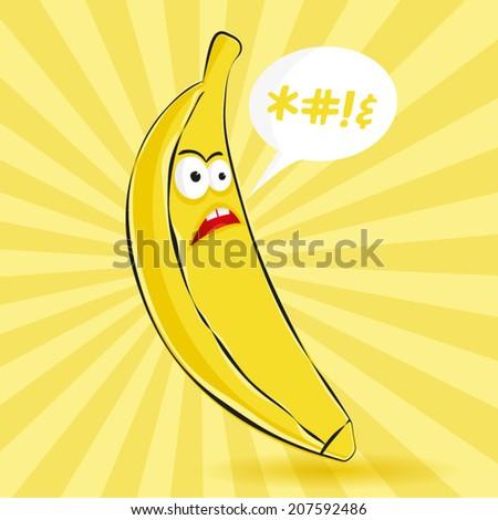 Angry banana vector illustration - stock vector