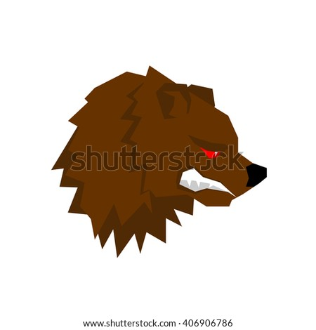 Angry bear. aggressive Grizzlies with grin. Wild beast growls. Scary ferocious animals of  forest - stock vector