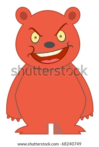 Angry Bear Cartoon Character Illustration Isolated White - stock vector