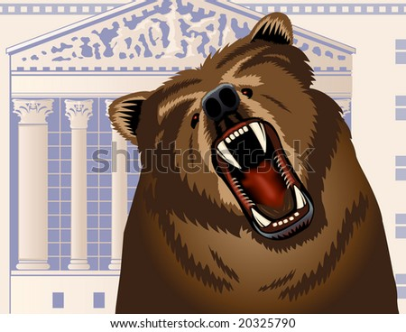 Angry bear growling with Stock Exchange building in the background - VECTOR - stock vector