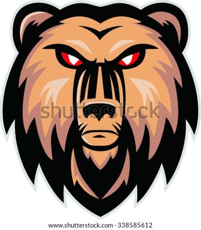 angry bear head mascot, vector illustration - stock vector