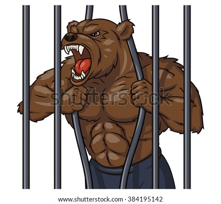 Angry bear in cage 3 - stock vector
