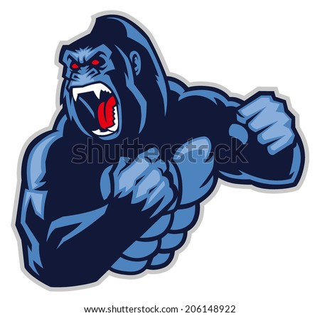 angry big gorilla - stock vector