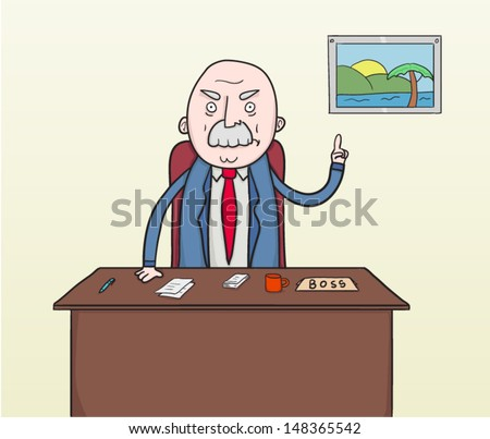 Angry boss at his desk with finger lifted