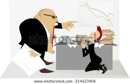 Angry boss berates his subordinate - stock vector