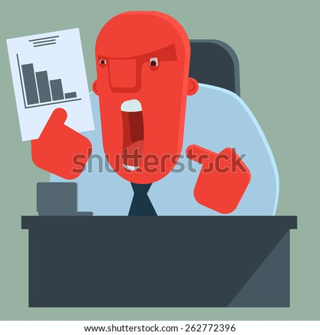Angry boss is dissatisfied with results - stock vector