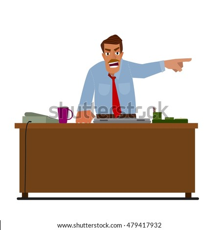 Angry boss pointing at the door. The concept of employee layoffs..Flat design modern vector illustration.