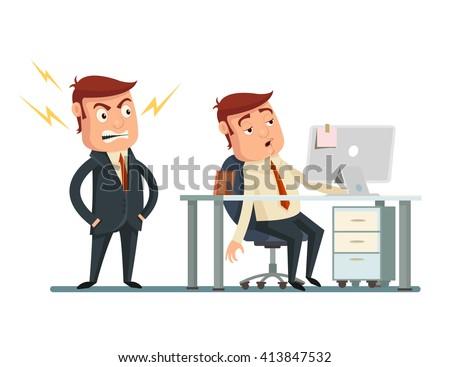Angry boss. Vector flat cartoon illustration  - stock vector