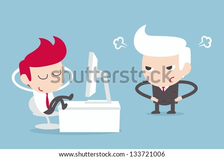 angry boss with lazy employer - stock vector