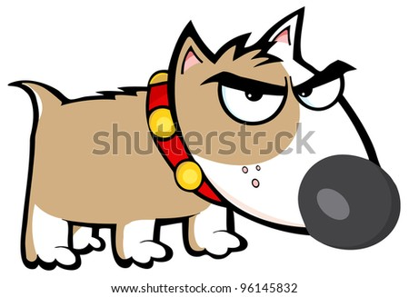 Angry Brown Dog Bull Terrier - stock vector