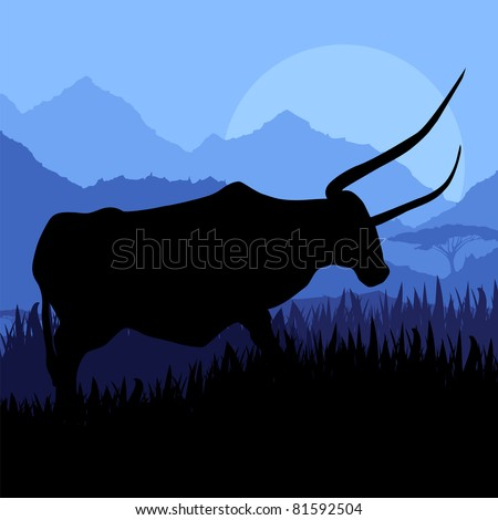 Angry bull in wild country side landscape illustration - stock vector