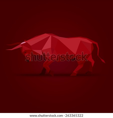 angry bull origami paper symbols - stock vector