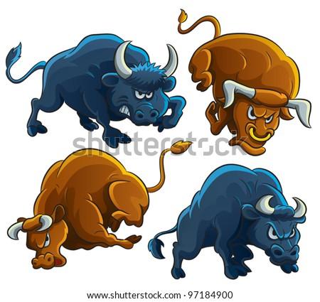 Angry Bulls - stock vector