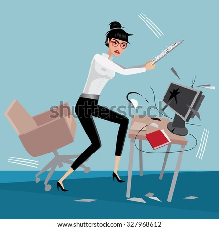 Angry business woman breaks a computer at workplace in office - stock vector