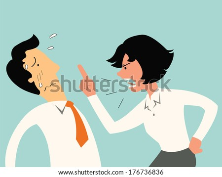 Angry business woman showing finger and screaming, scolding to businessman who found guilty of doing something wrong.  - stock vector