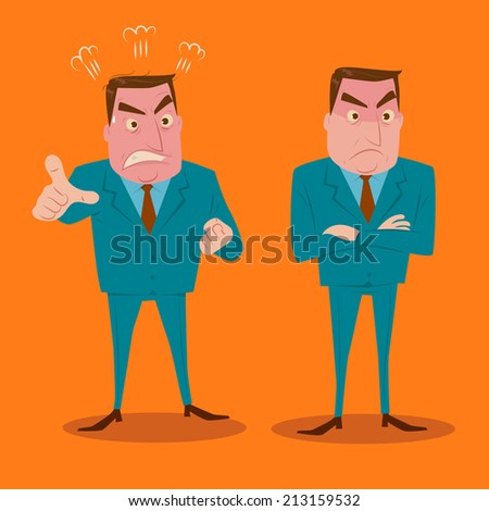 Angry businessman character set. - stock vector