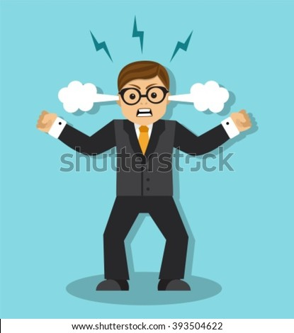 Angry businessman in a rage is tense and clenched his fists - stock vector